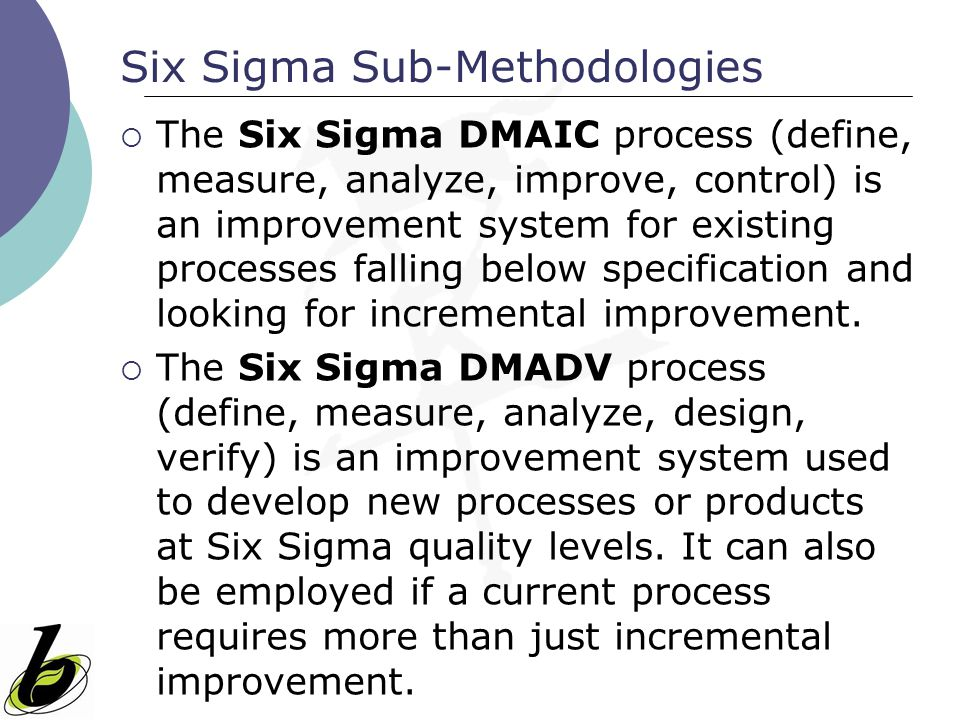 Six Sigma Sub-Methodologies