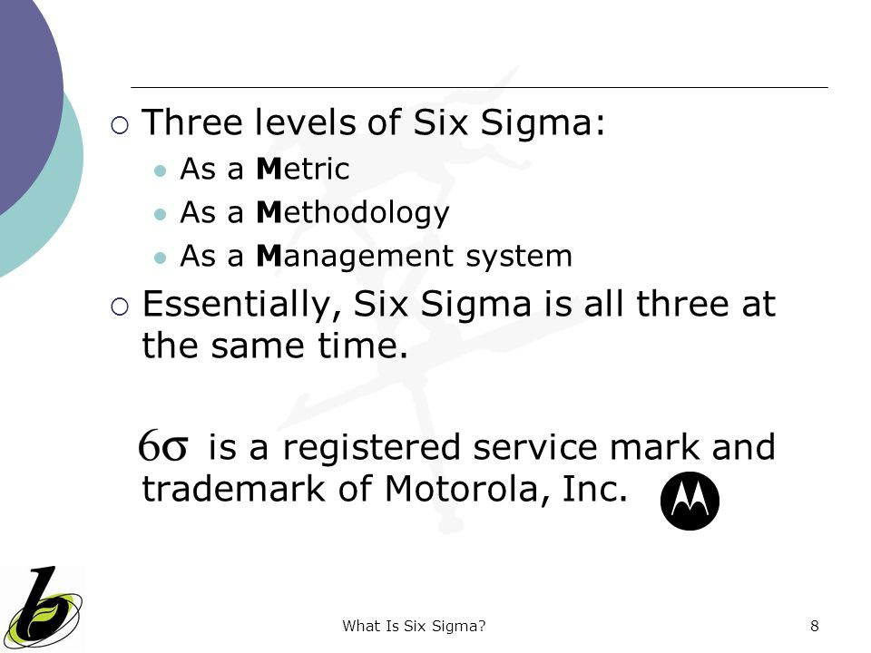 Three levels of Six Sigma:
