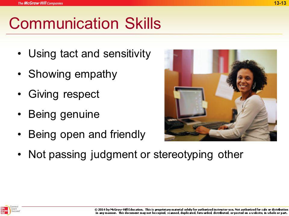 Communication Skills Using tact and sensitivity Showing empathy