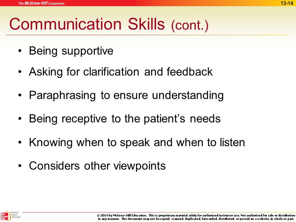 Communication Skills (cont.)