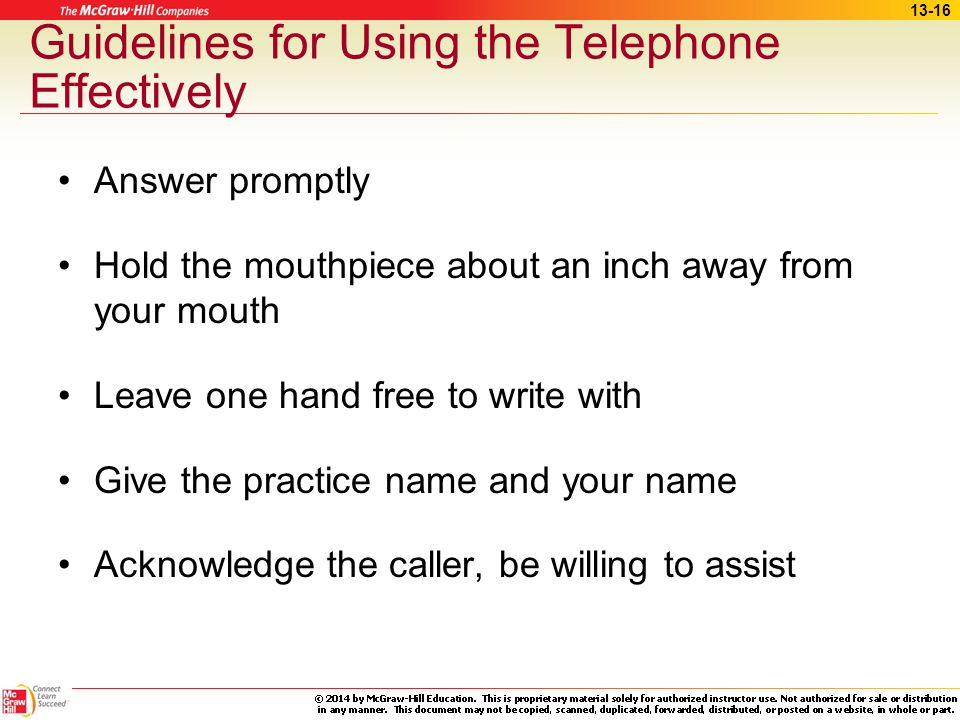 Guidelines for Using the Telephone Effectively
