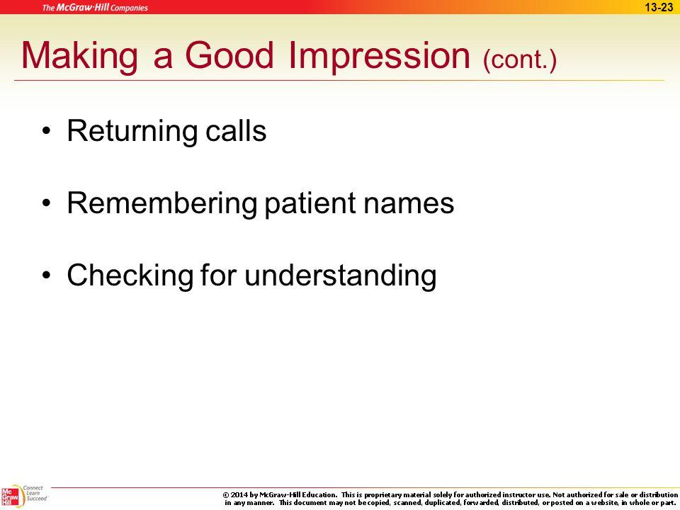 Making a Good Impression (cont.)