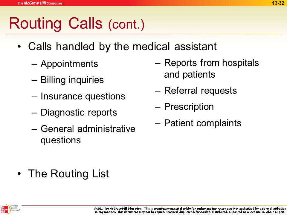 Routing Calls (cont.) Calls handled by the medical assistant