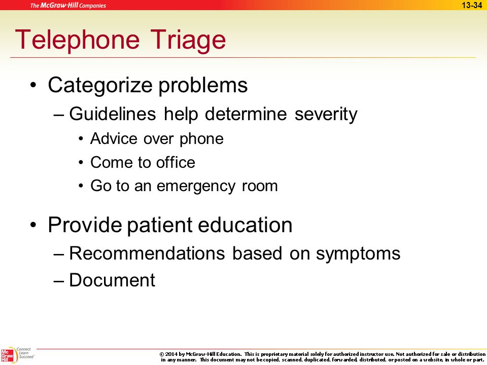 Telephone Triage Categorize problems Provide patient education