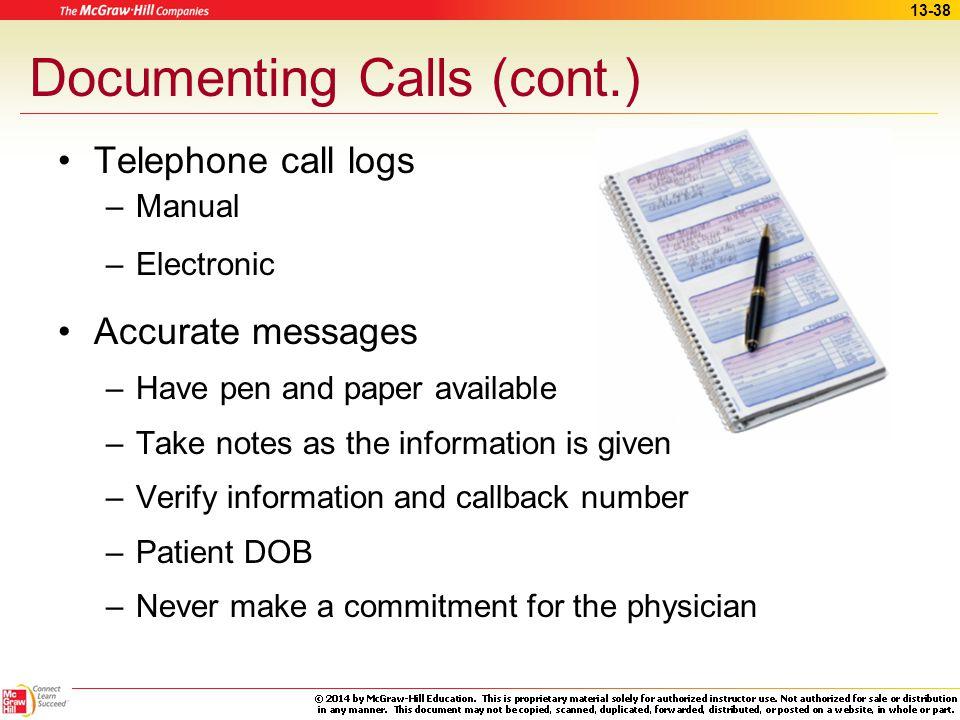 Documenting Calls (cont.)