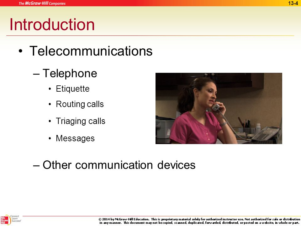 Introduction Telecommunications Telephone Other communication devices