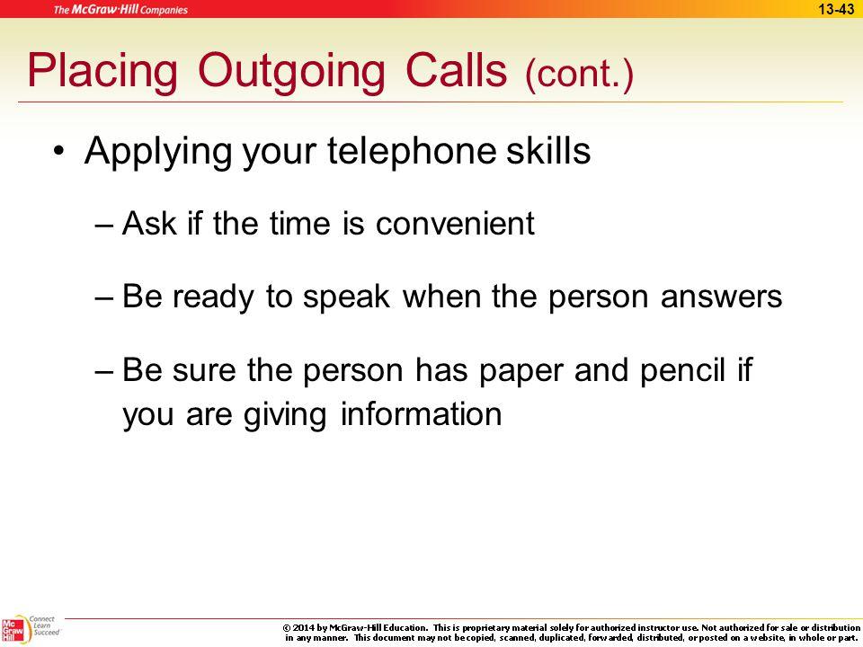 Placing Outgoing Calls (cont.)