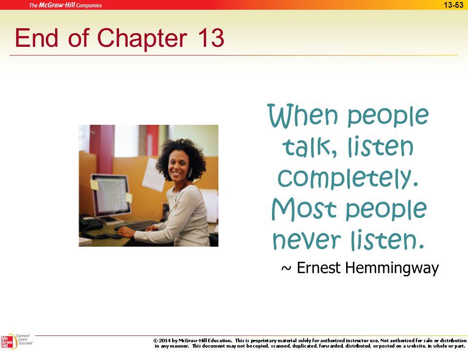 When people talk, listen completely. Most people never listen.