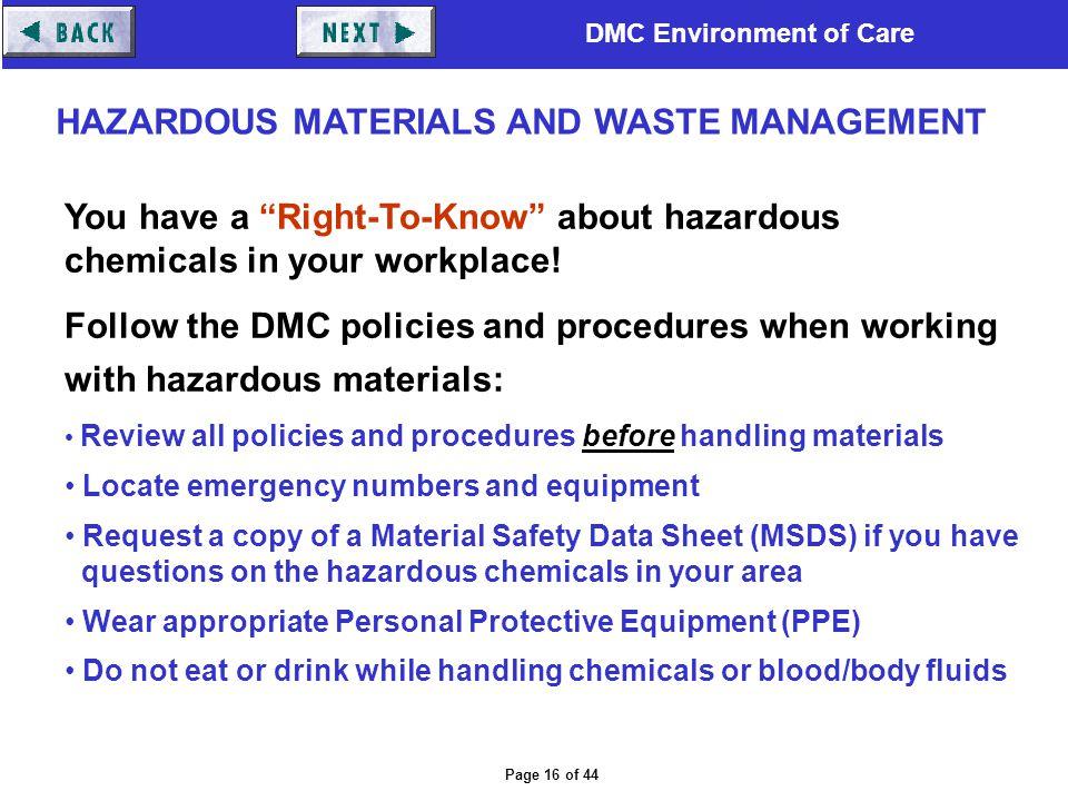 HAZARDOUS MATERIALS AND WASTE MANAGEMENT