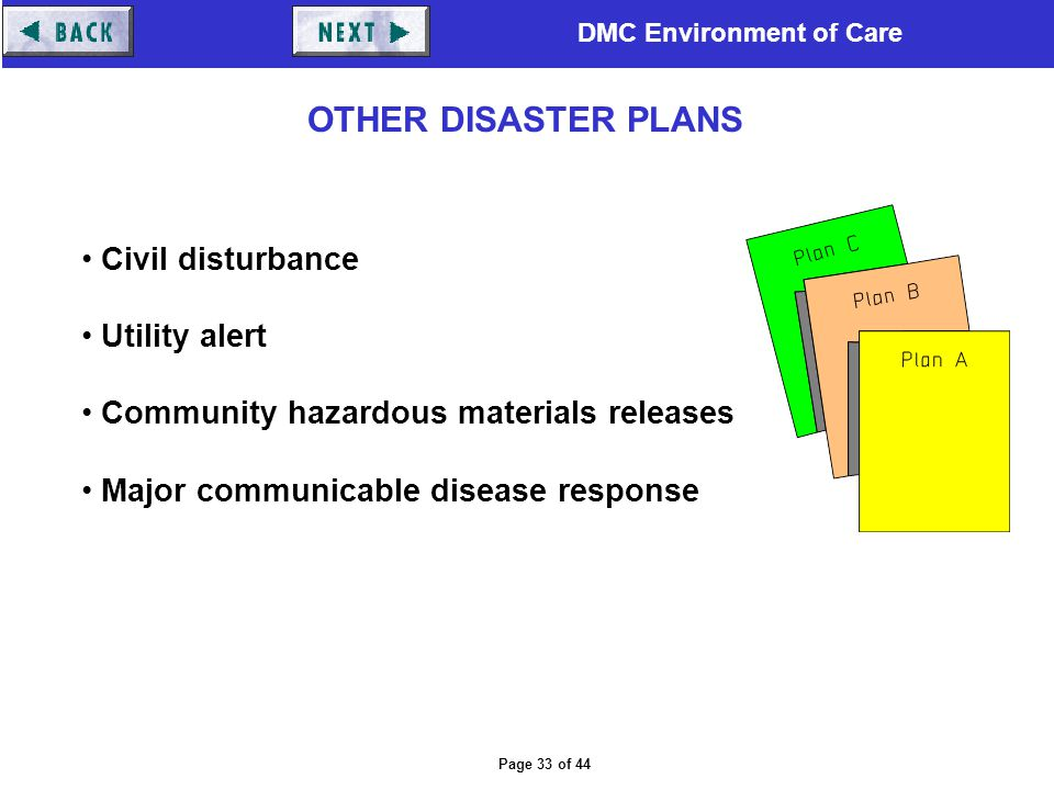 OTHER DISASTER PLANS Civil disturbance Utility alert
