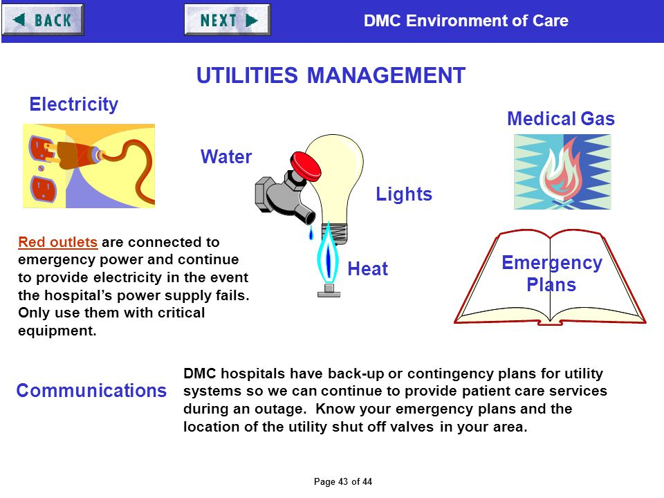 UTILITIES MANAGEMENT Electricity Medical Gas Water Lights