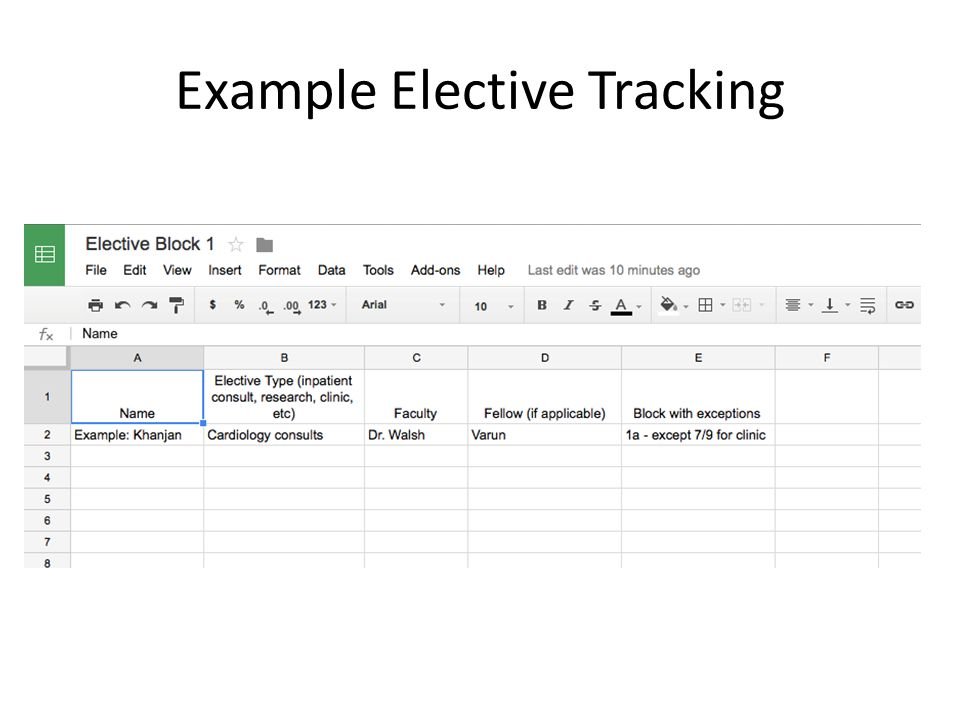 Example Elective Tracking