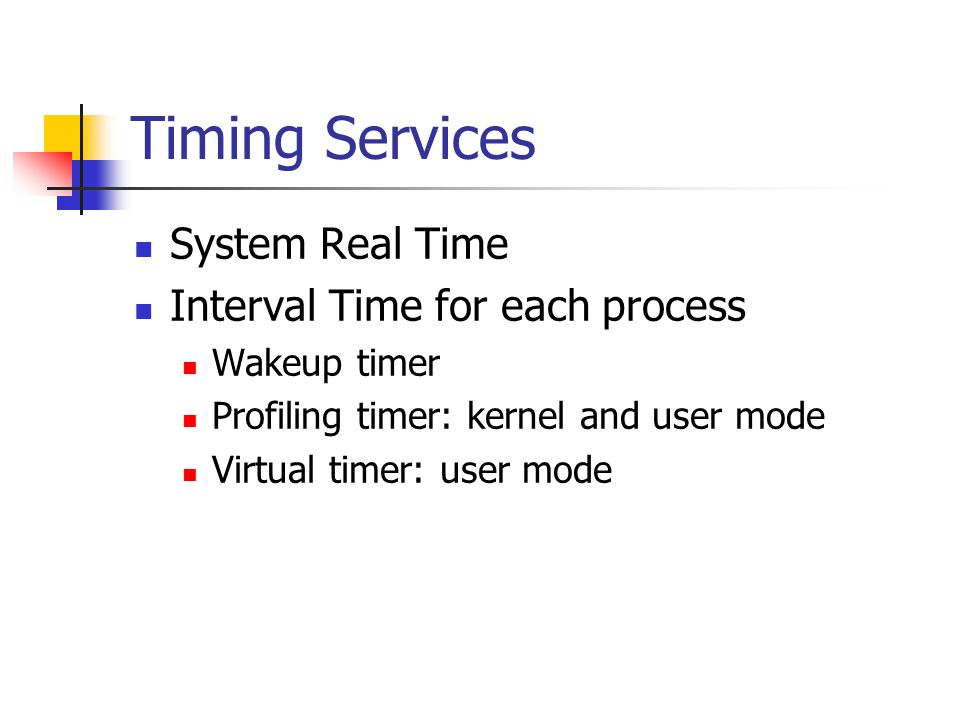 Timing Services System Real Time Interval Time for each process