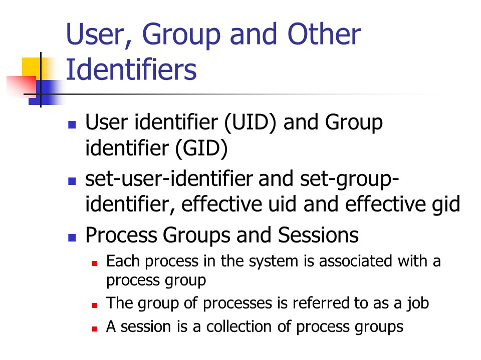 User, Group and Other Identifiers