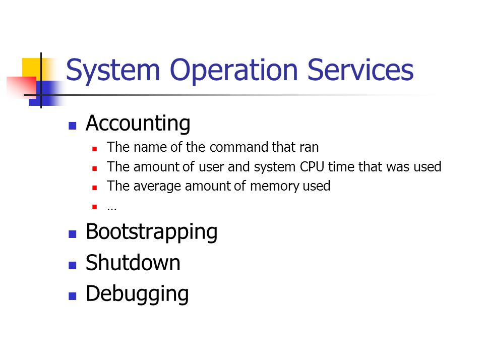 System Operation Services