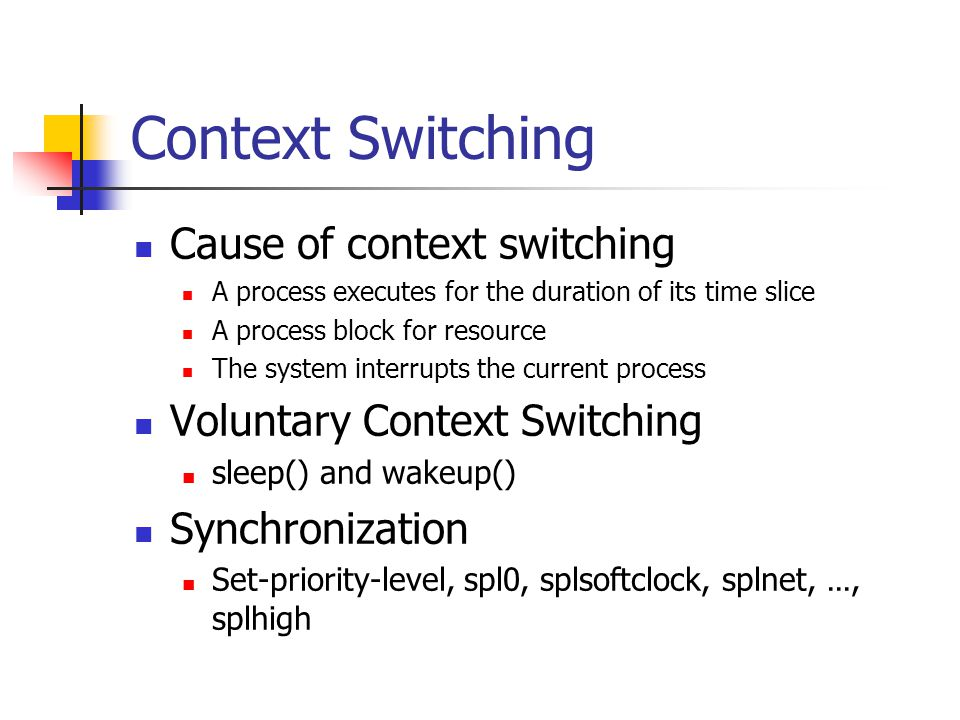 Context Switching Cause of context switching