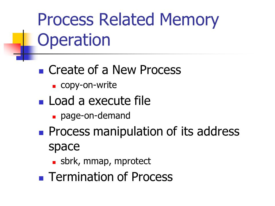 Process Related Memory Operation