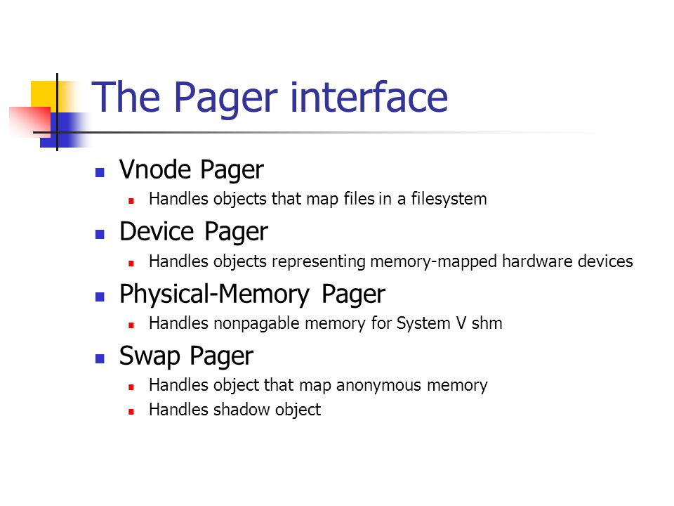 The Pager interface Vnode Pager Device Pager Physical-Memory Pager