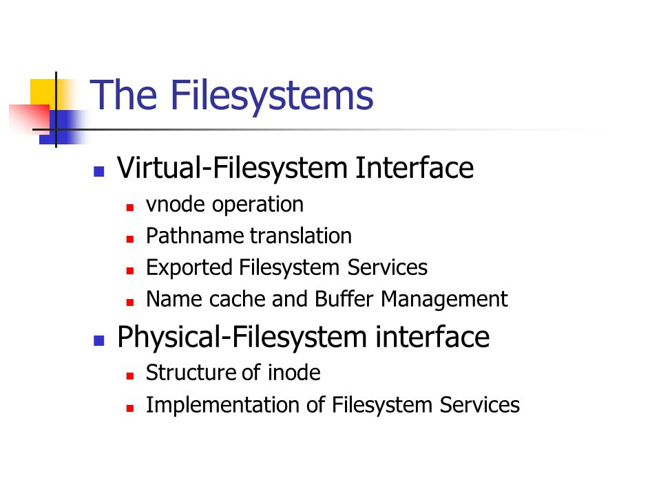 The Filesystems Virtual-Filesystem Interface