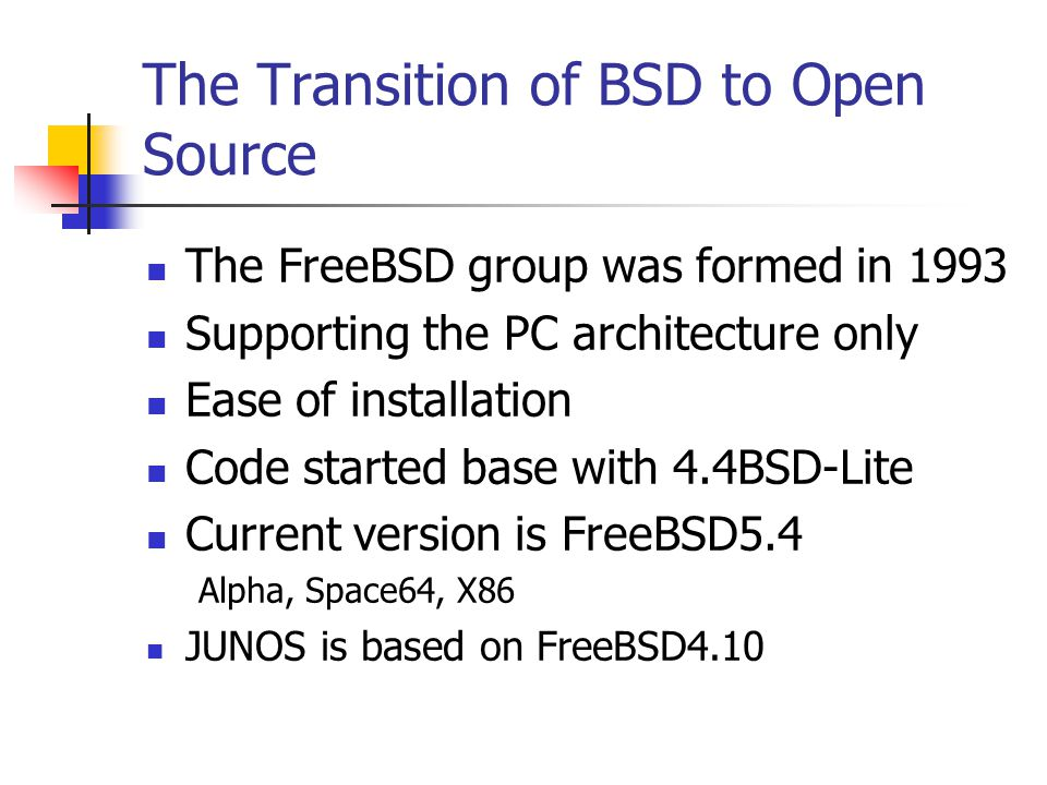 The Transition of BSD to Open Source