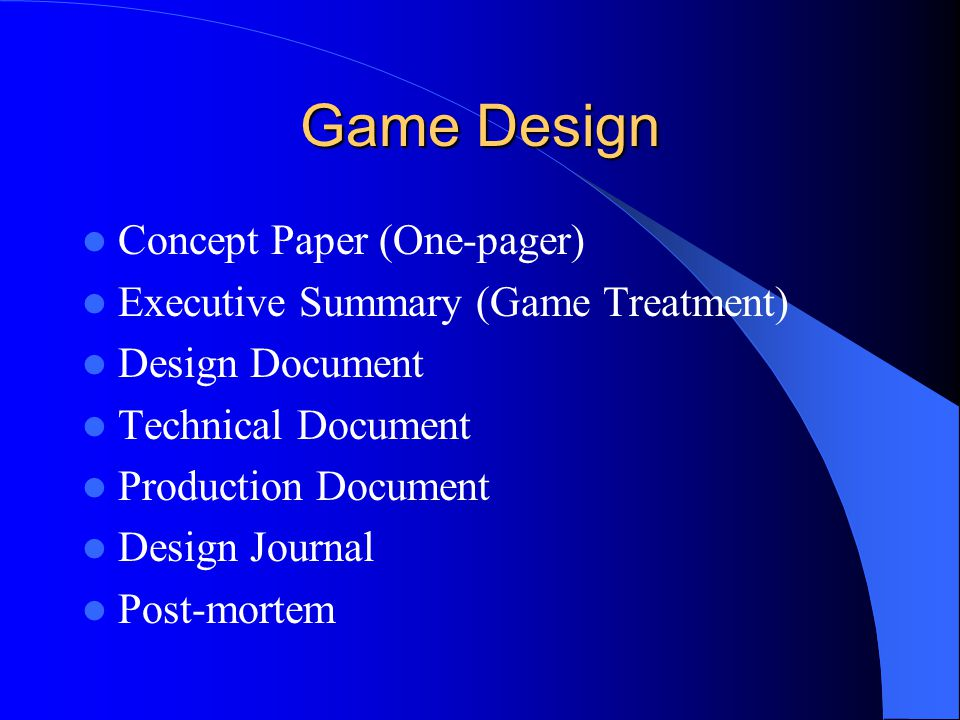 Game Design Concept Paper (One-pager)