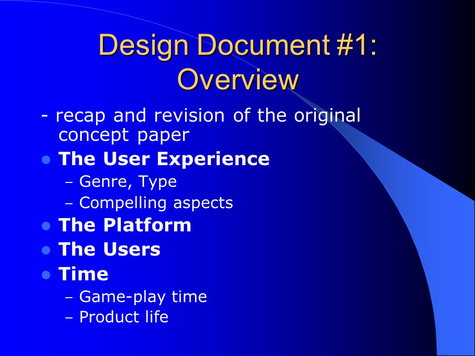 Design Document #1: Overview