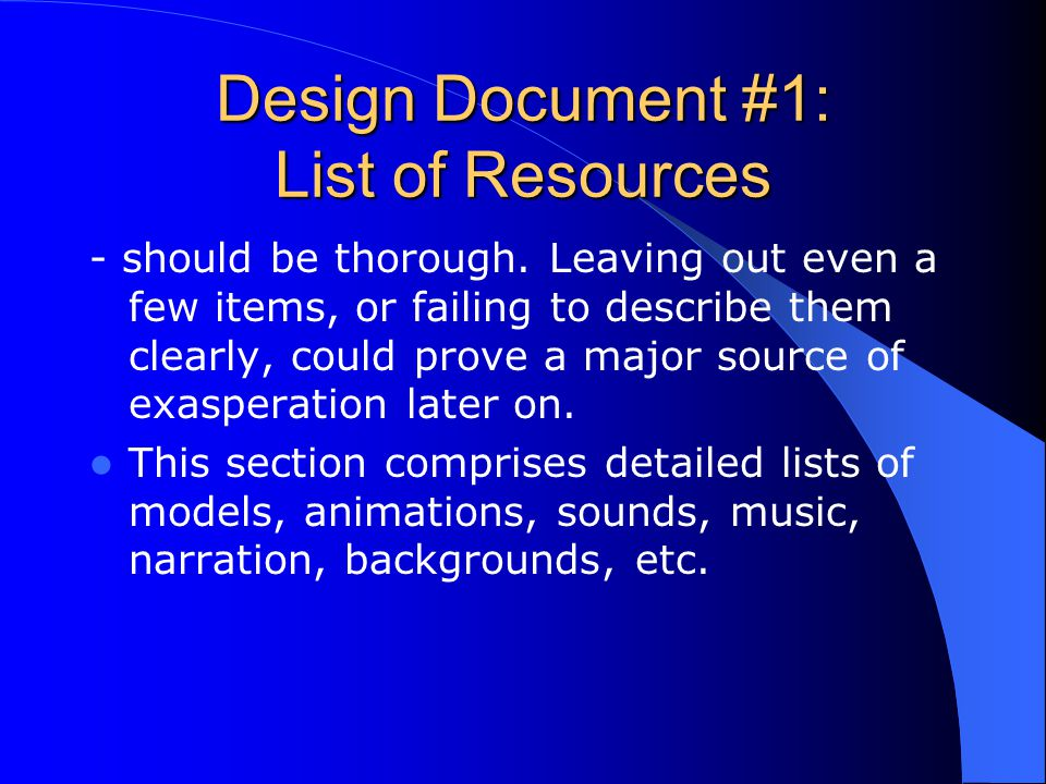 Design Document #1: List of Resources