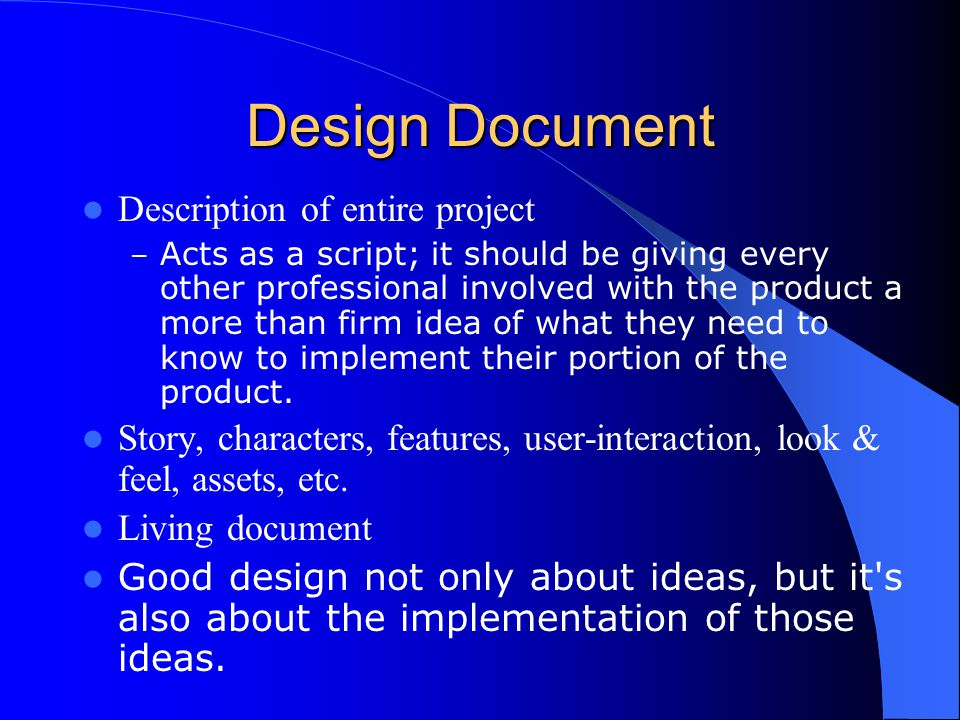 Design Document Description of entire project