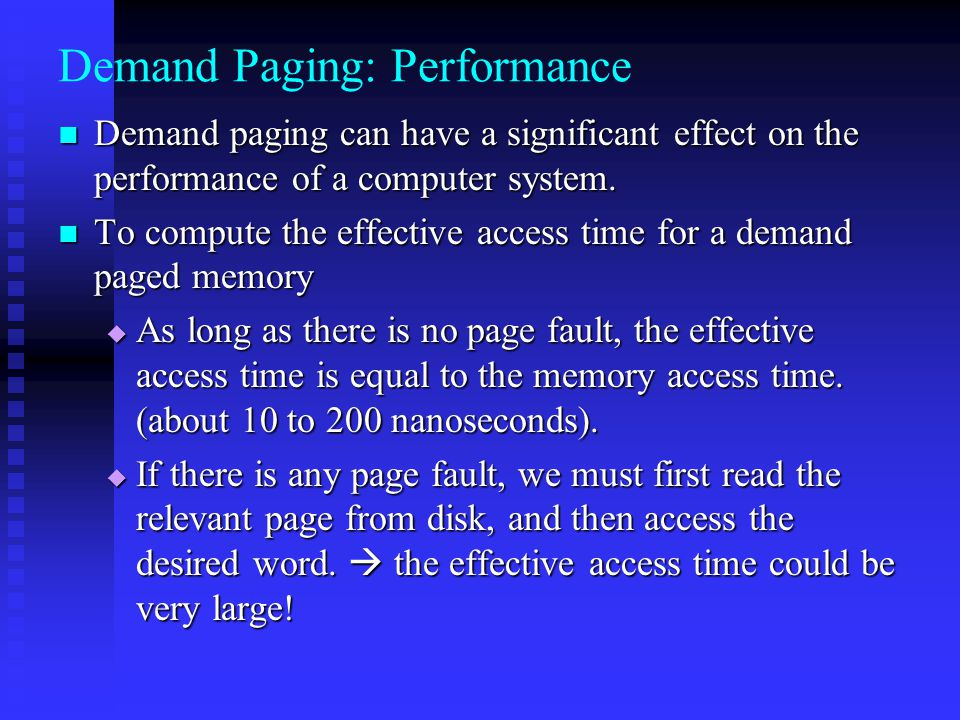 Demand Paging: Performance