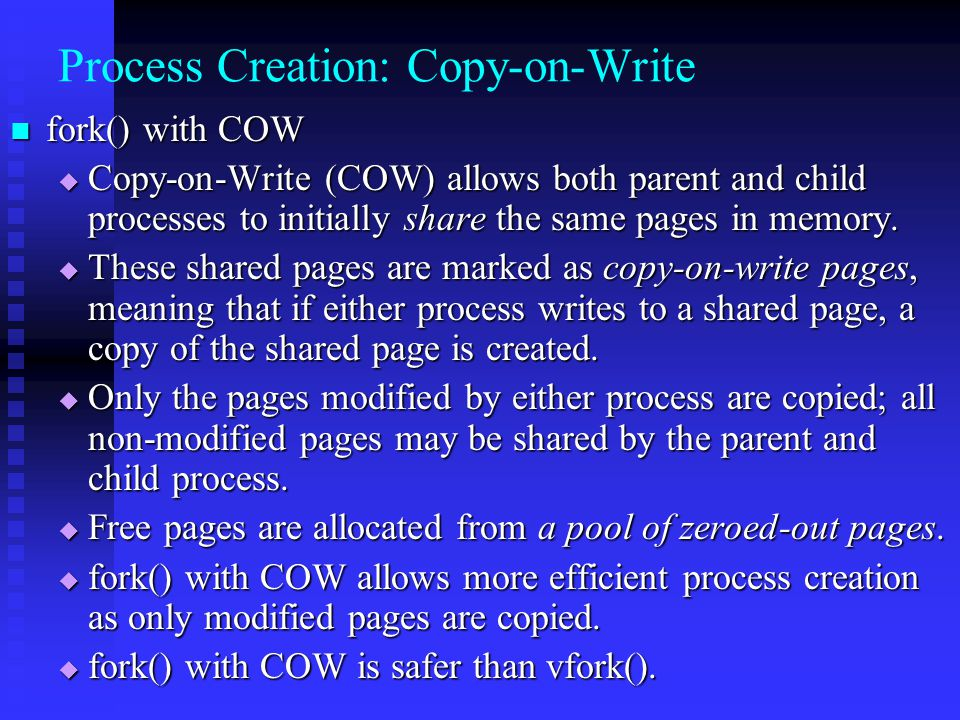 Process Creation: Copy-on-Write