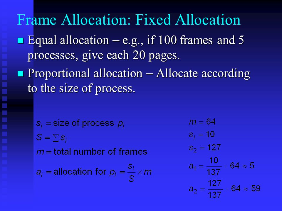 Frame Allocation: Fixed Allocation