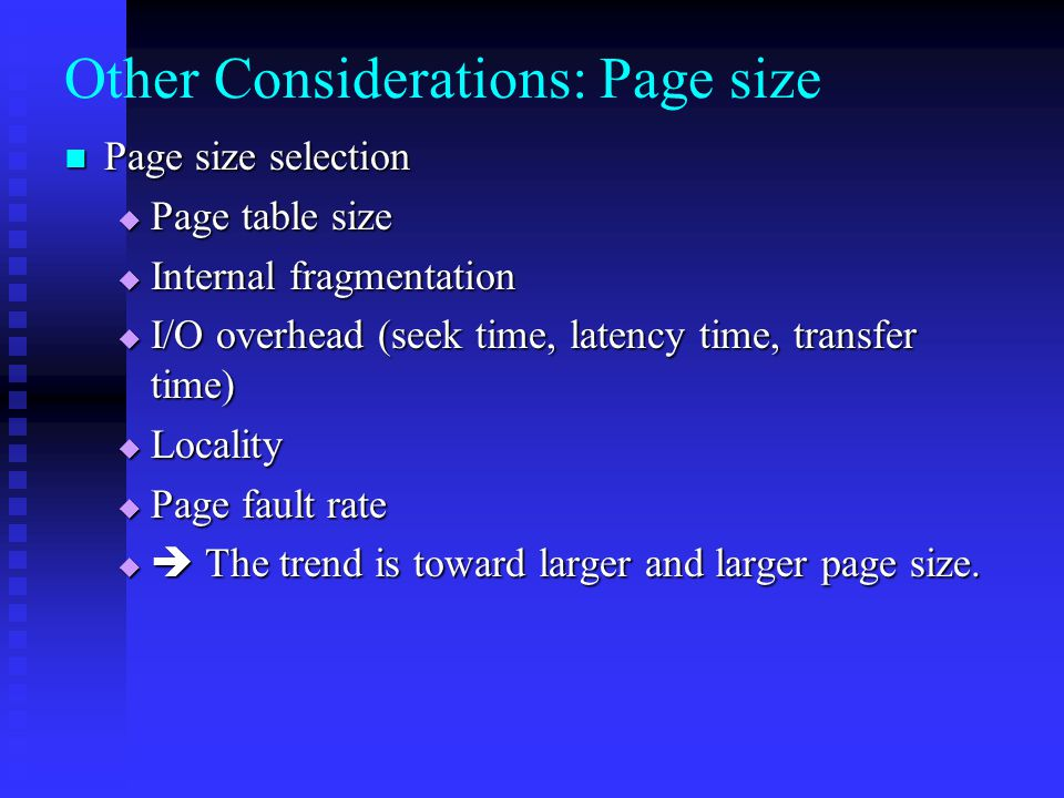 Other Considerations: Page size