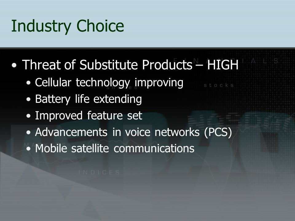 Industry Choice Threat of Substitute Products – HIGH