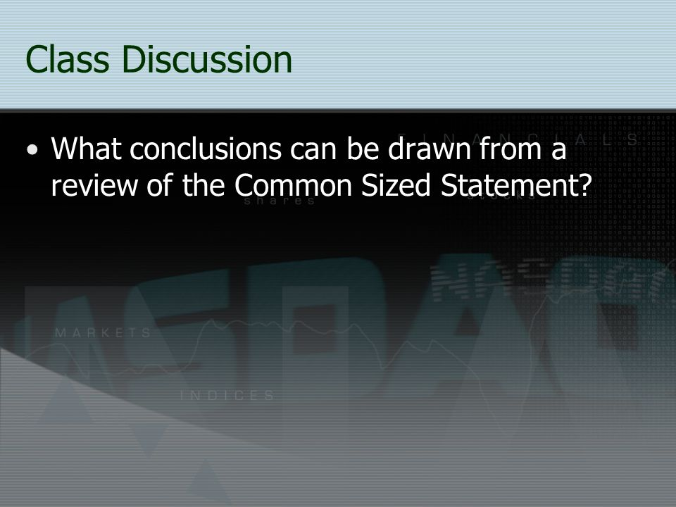 Class Discussion What conclusions can be drawn from a review of the Common Sized Statement