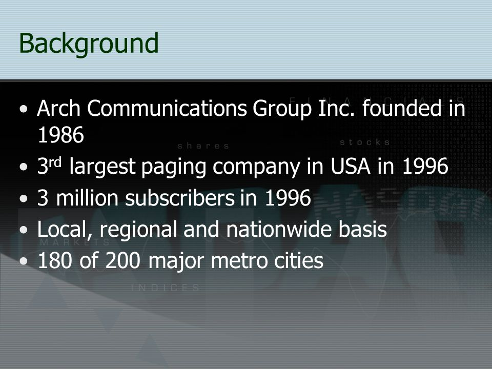 Background Arch Communications Group Inc. founded in 1986