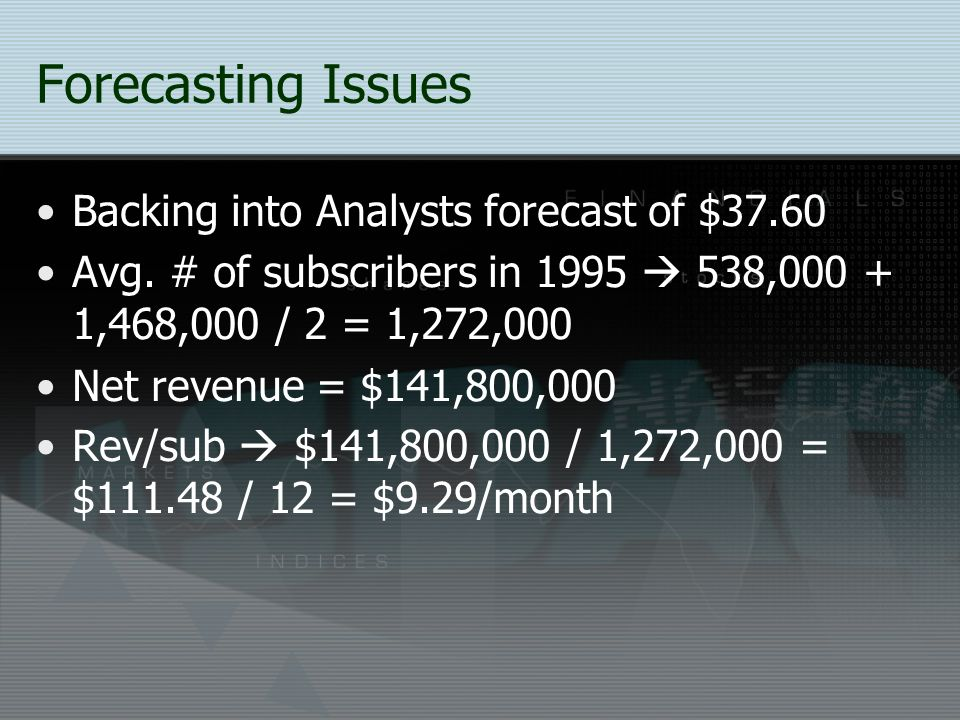 Forecasting Issues Backing into Analysts forecast of $37.60