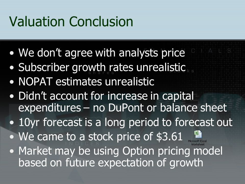 Valuation Conclusion We don't agree with analysts price