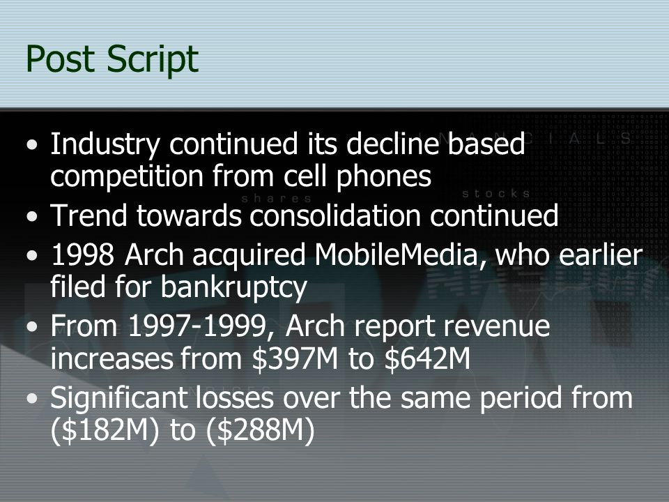Post Script Industry continued its decline based competition from cell phones. Trend towards consolidation continued.