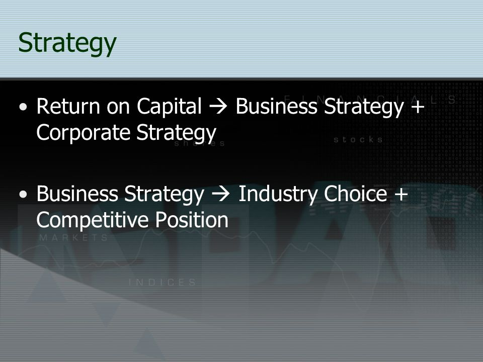 Strategy Return on Capital  Business Strategy + Corporate Strategy