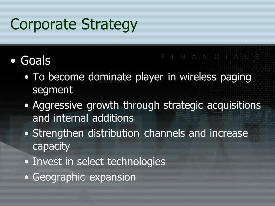 Corporate Strategy Goals