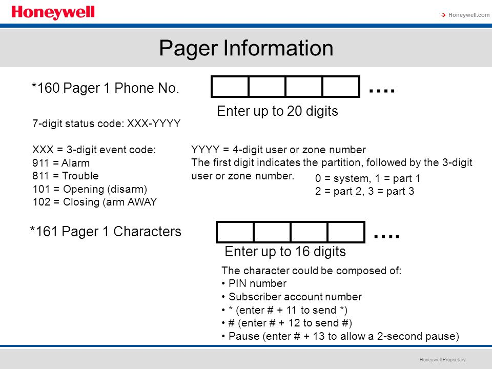 Pager Information …. *160 Pager 1 Phone No. Enter up to 20 digits. 7-digit status code: XXX-YYYY.