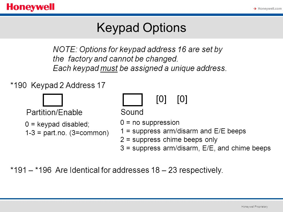 Keypad Options NOTE: Options for keypad address 16 are set by the factory and cannot be changed. Each keypad must be assigned a unique address.