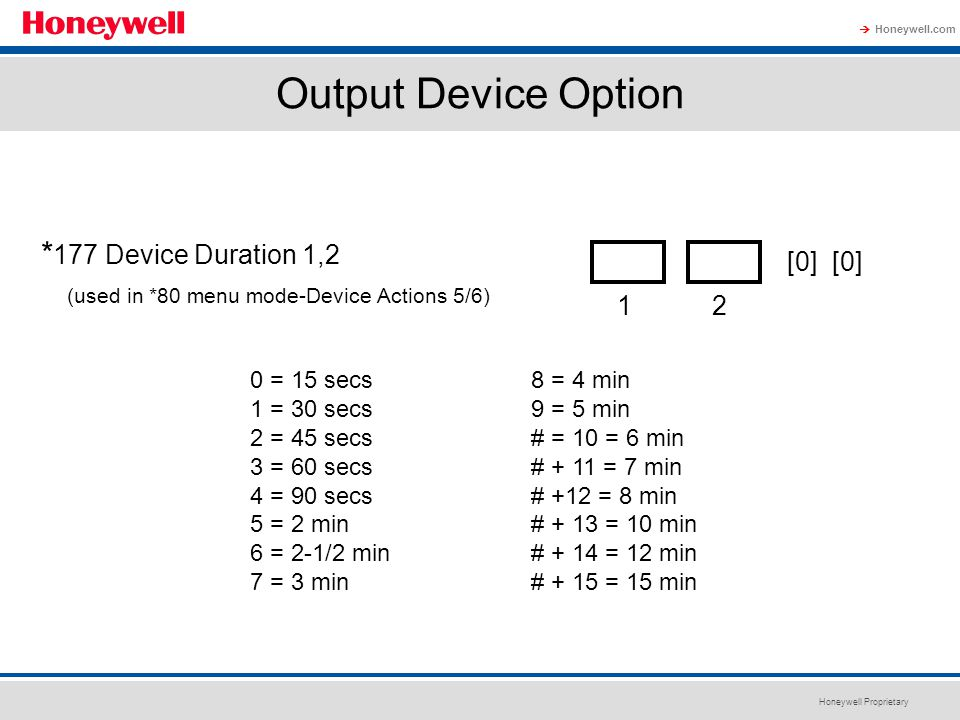 Output Device Option *177 Device Duration 1,2