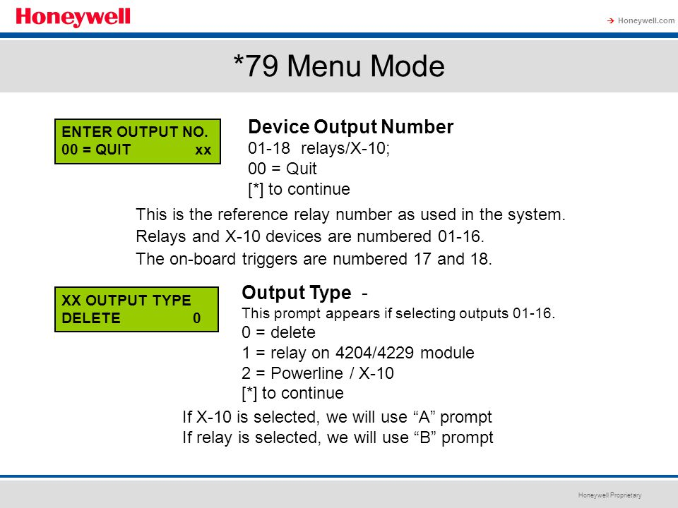 *79 Menu Mode Device Output Number Output Type - 01-18 relays/X-10;