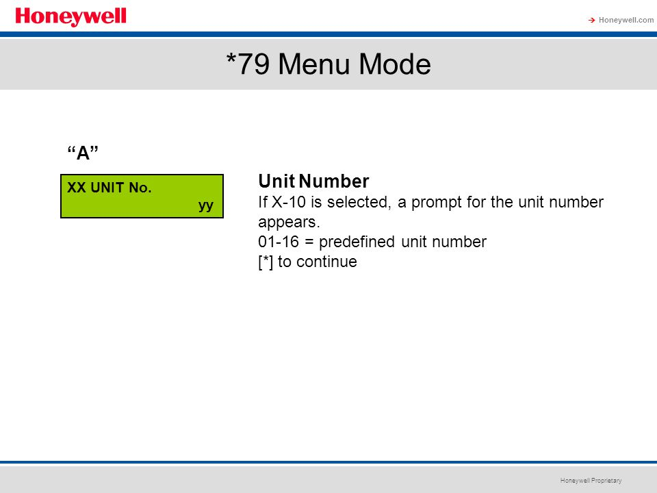 *79 Menu Mode A Unit Number