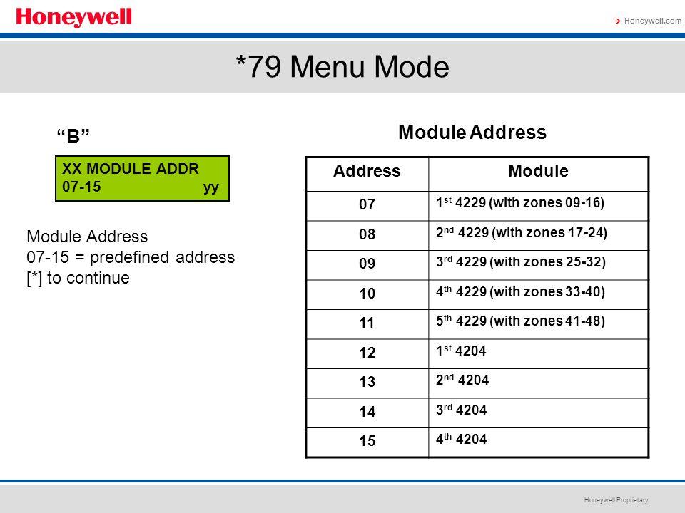 *79 Menu Mode Module Address B Address Module Module Address