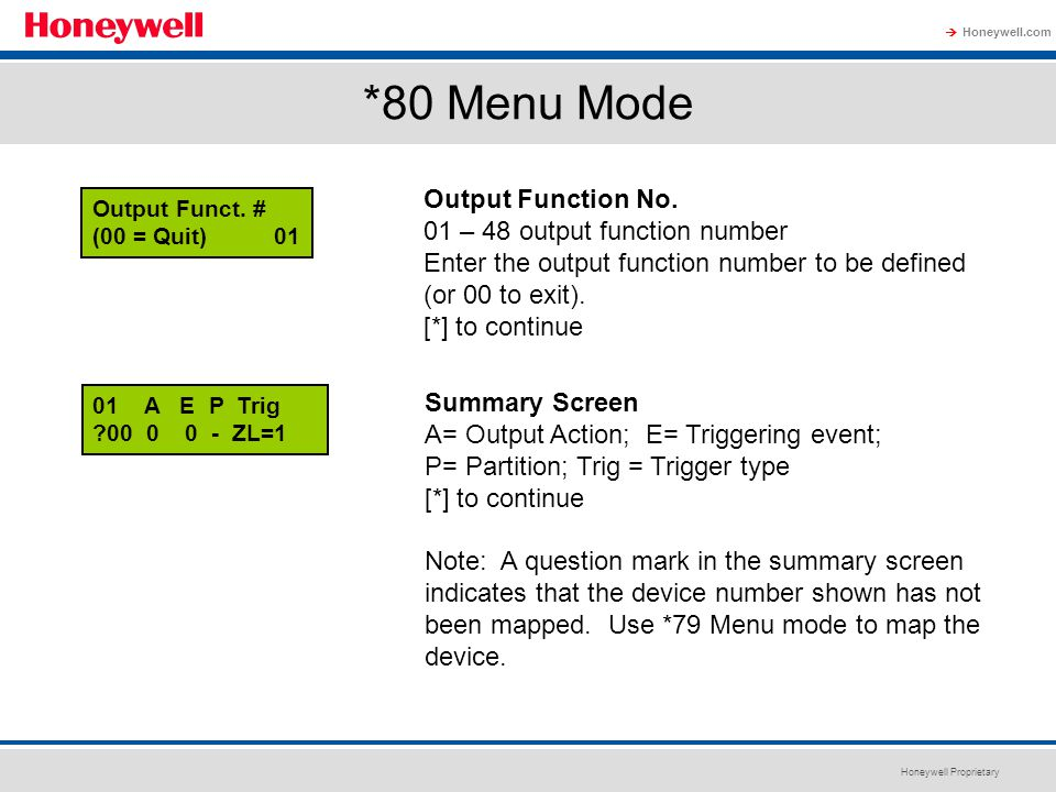 *80 Menu Mode Output Function No. 01 – 48 output function number