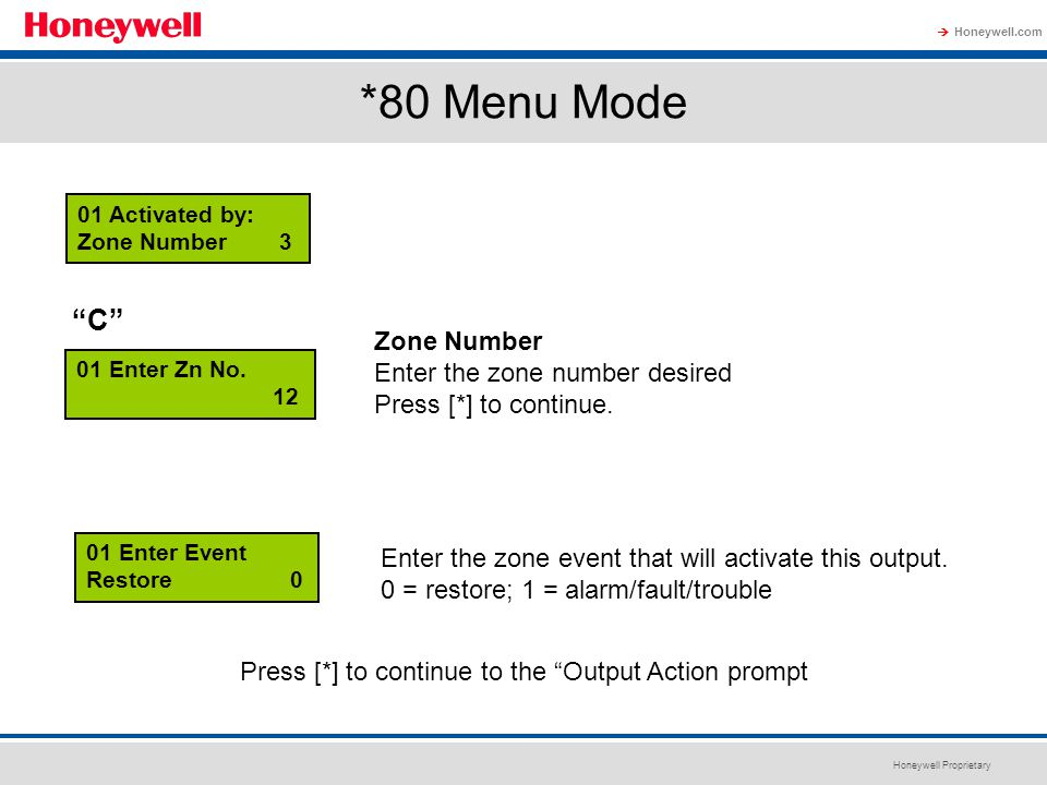 *80 Menu Mode C Zone Number Enter the zone number desired