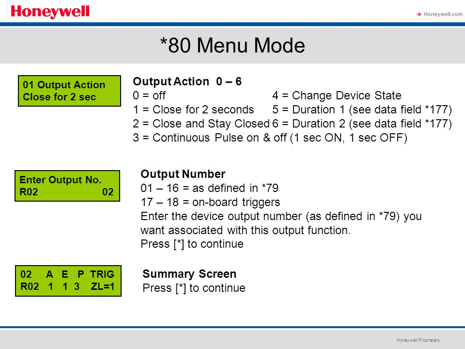 *80 Menu Mode Output Action 0 – 6 0 = off 4 = Change Device State