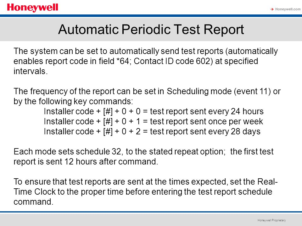 Automatic Periodic Test Report
